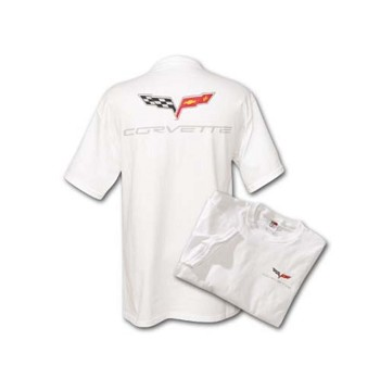 C6 Corvette 2005-2013 Screenprint Crossed Flags T-Shirt - White