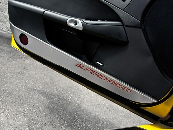 "C6 Corvette 2005-2013 Brushed Door Guards With Carbon Fiber ""Supercharged"" Inlay - Pair"