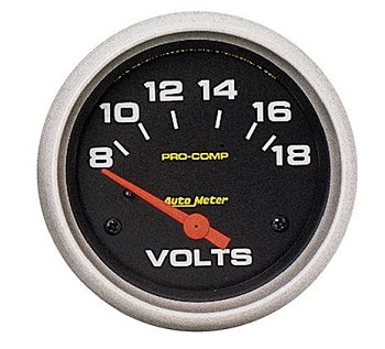 AutoMeter Pro-Comp 2-5/8 inch Electronic Voltmeter Gauge, Full Sweep, 8-18 Volts