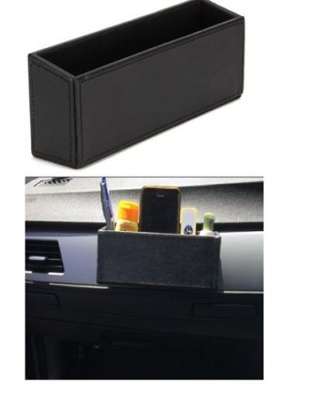 Black Leather-Like Dash/Side Console Organizer Pocket