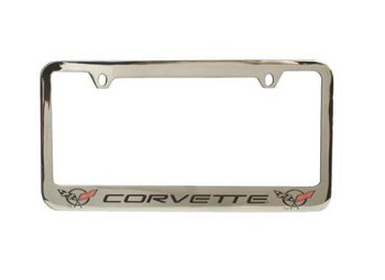 C3 C4 C5 Corvette 1968-2004 Solid Brass Chrome Plated License Plate Frames - Generation Script w/ Cross Flags on Either Side Options