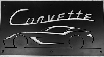 Corvette 3D Cutout Silhouette Sign - Black