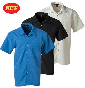 C7 Corvette 2014-2019 Textured Collared Button Down Harrington Camp Shirt - 3 Color Options