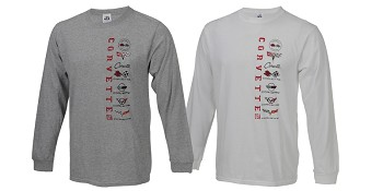 C3 C4 C5 C6 C7 Corvette 1968-2014+ Mens Long Sleeve Corvette Collage Tee