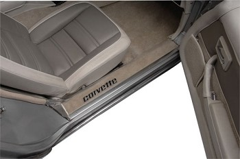 C3 Corvette 1978-1982 Clear Door Sill Guards with Black Corvette Lettering