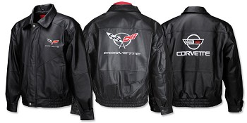 C4 C5 C6 Corvette 1984-2013 Leather Jacket - Embroidered Front & Back