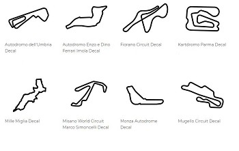 Europe Track Outline Decals - Italy - Size & Color Selection