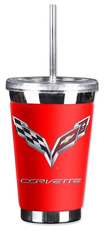 C7 Corvette 2014-2019 Crossed Flags Logo 16oz To Go Cup - Multiple Colors