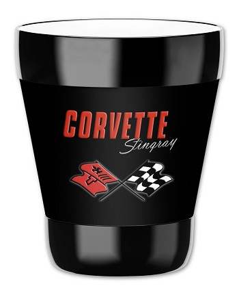 C3 C4 Corvette 1968-1996 Crossed Flags Logo Tumbler w/ Removable Insulated Cover