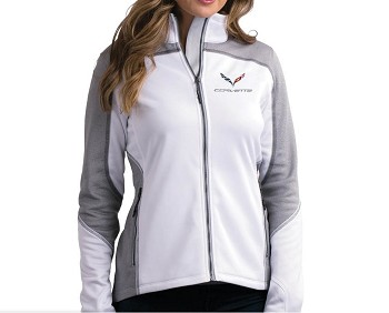 C7 Corvette 2014-2019 White & Heather Gray Knit Jacket w/ Crossed Flags Logo
