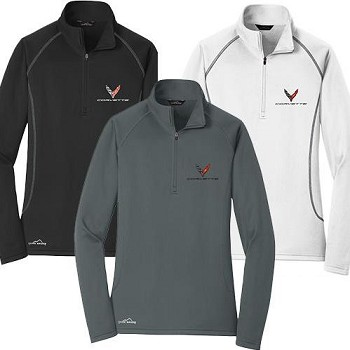 C8 Next Gen Corvette 2020+ Ladies Eddie Bauer 1/2 Zip Pullover w/ Logo - Color & Size Options
