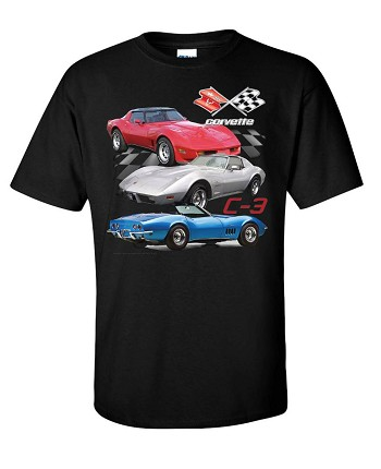 C3 Corvette 1968-1982 Corvette Trio Shirt - Black