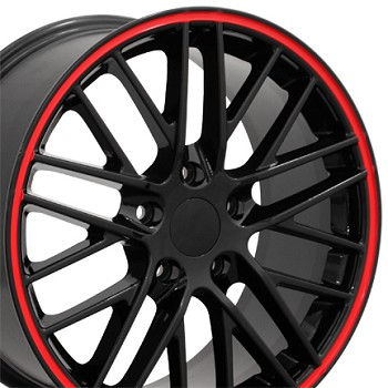 Corvette C6 ZR1 Style Wheels Set 05-13 Gloss Black w/ Red Stripes 19x10/20x12