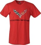 2014+ C7 Corvette T-Shirt w/ C7 Corvette Flags and Script - Red