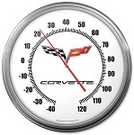 2005-2013 C6 Corvette Crossed Flags Logo Thermometer - 14in