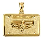 C3 C4 C5 C6 Corvette 1968-2013 Anniversary Gold or Sterling License Plate Pendants - 25th, 35th, 40th, 50th, 60th & Centennial
