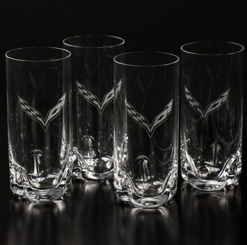 C7 Corvette 2014+ 16oz Cooler Glassware Set - 4 Glasses - Crystal