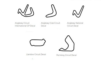 Europe Track Outline Decals - Wales - Size & Color Selection